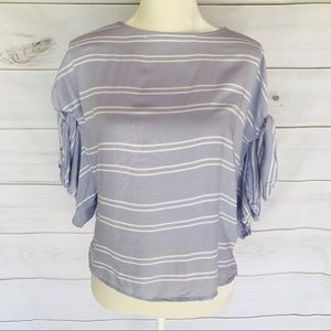 Eyeshadow Purple and White Striped Tie Sleeve Top